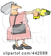 Royalty Free RF Clip Art Illustration Of A Granny Defending Herself With A Taser Gun