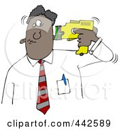 Royalty Free RF Clip Art Illustration Of A Black Businessman Holding A Taser To His Head by Dennis Cox