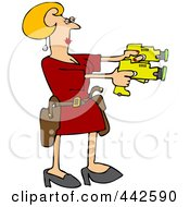 Royalty Free RF Clip Art Illustration Of A Blond Woman Drawing Two Taser Guns by djart