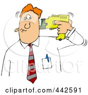 Royalty Free RF Clip Art Illustration Of A Businessman Holding A Taser To His Head by Dennis Cox