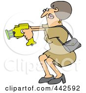 Royalty Free RF Clip Art Illustration Of A Woman Defending Herself With A Taser Gun