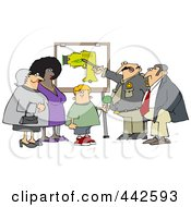 Royalty Free RF Clip Art Illustration Of A Man Instructing A Taser Defense Class by Dennis Cox