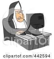Royalty Free RF Clip Art Illustration Of A Nun Using A Desktop Computer by Dennis Cox
