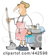 Royalty Free RF Clip Art Illustration Of A Man Mopping In A Pink Apron by djart