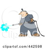 Royalty Free RF Clip Art Illustration Of A Pressure Washer Man