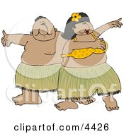 Hawaiian Man And Woman Hula Dancing Together In Hawaii Attire