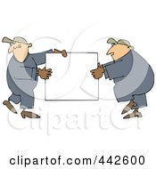 Royalty Free RF Clip Art Illustration Of Worker Men Carrying A Blank Sign