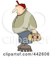 Royalty Free RF Clip Art Illustration Of A Worker Man Wearing Shoes With Tall Soles by Dennis Cox