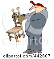 Royalty Free RF Clip Art Illustration Of A Worker Man Holding A Chair by djart