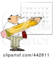 Royalty Free RF Clip Art Illustration Of A Businessman Using A Huge Pencil To Write On His Calendar by djart