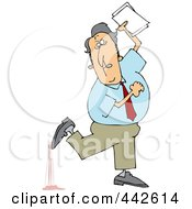 Royalty Free RF Clip Art Illustration Of A Businessman Stepping In Gum