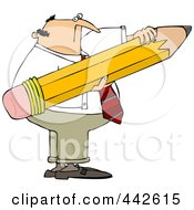Royalty Free RF Clip Art Illustration Of A Businessman Holding A Large Pencil by djart