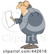 Royalty Free RF Clip Art Illustration Of A Confused Worker Man Reading A Document