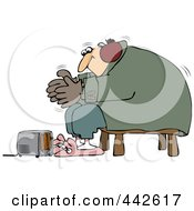 Royalty Free RF Clip Art Illustration Of A Cold Man Wearing Bunny Slippers And Muffs By A Space Heater by Dennis Cox