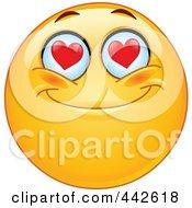 Royalty Free RF Clip Art Illustration Of A Romantic Emoticon With Heart Eyes by yayayoyo #COLLC442618-0157