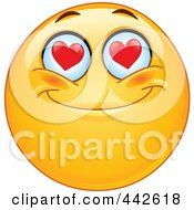 Royalty Free RF Clip Art Illustration Of A Romantic Emoticon With Heart Eyes