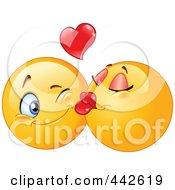 Royalty Free RF Clip Art Illustration Of A Female Emoticon Smooching Her Boyfriend On The Cheek by yayayoyo #COLLC442619-0157