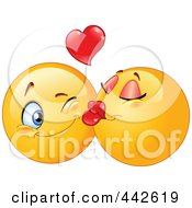 Royalty Free RF Clip Art Illustration Of A Female Emoticon Smooching Her Boyfriend On The Cheek