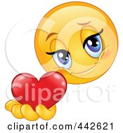 Royalty Free RF Clip Art Illustration Of A Romantic Female Emoticon Holding Out A Heart