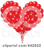Royalty Free RF Clip Art Illustration Of A Big Red Heart Formed Of Balloons