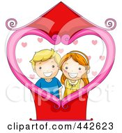 Royalty Free RF Clip Art Illustration Of A Boy And Girl Photo With A Heart Frame