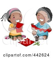 Royalty Free RF Clip Art Illustration Of A Black Boy And Girl Making Paper Hearts by BNP Design Studio
