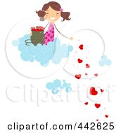 Royalty Free RF Clip Art Illustration Of A Girl On A Cloud Dropping Hearts