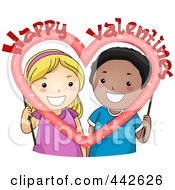 Royalty Free RF Clip Art Illustration Of A Boy And Girl Holding A Happy Valentine Frame