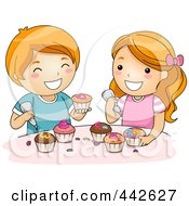 Royalty Free RF Clip Art Illustration Of A Boy And Girl Icing Cupcakes