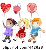 Royalty Free RF Clip Art Illustration Of A Boy And Girls Walking With Hearts In A Parade