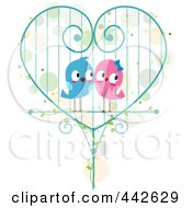 Pair Of Birds In A Heart Cage