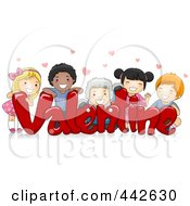 Royalty Free RF Clip Art Illustration Of A Group Of Kids On The Word VALENTINE by BNP Design Studio