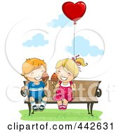 Royalty Free RF Clip Art Illustration Of A Boy And Girl Eating Ice Cream Cones On A Bench With A Heart Balloon