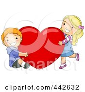 Royalty Free RF Clip Art Illustration Of A Boy And Girl Hugging A Red Heart