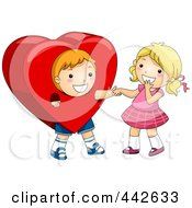 Royalty Free RF Clip Art Illustration Of A Boy In A Heart Costume Holding A Girls Hand
