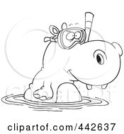 Royalty Free RF Clip Art Illustration Of A Cartoon Black And White Outline Design Of A Snorkeling Hippo