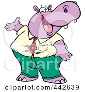 Royalty Free RF Clip Art Illustration Of A Cartoon Business Hippo Presenting by toonaday