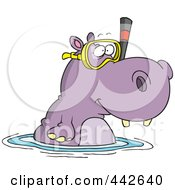 Royalty Free RF Clip Art Illustration Of A Cartoon Snorkeling Hippo by Ron Leishman
