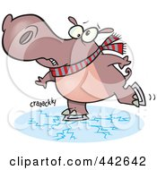 Royalty Free RF Clip Art Illustration Of A Cartoon Hippo Skating On Cracking Ice by toonaday