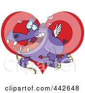 Royalty Free RF Clip Art Illustration Of A Cartoon Cupid Hippo Over A Heart by toonaday