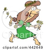 Cartoon Hippie Woman Running With Flowers