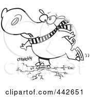 Royalty Free RF Clip Art Illustration Of A Cartoon Black And White Outline Design Of A Hippo Skating On Cracking Ice by toonaday