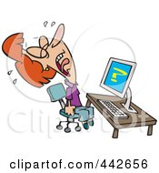 Royalty Free RF Clip Art Illustration Of A Cartoon Helpless Woman Crying Over Computer Problems by toonaday