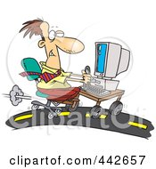 Royalty Free RF Clip Art Illustration Of A Cartoon Businessman Using A Computer On A Highway by toonaday