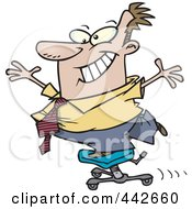 Royalty Free RF Clip Art Illustration Of A Cartoon Businessman Standing On A Rolling Office Chair