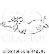 Royalty Free RF Clip Art Illustration Of A Cartoon Black And White Outline Design Of An Obese Wiener Dog