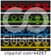 Clipart Illustration Of A Collage Of Colorful Glowing Diamonds On Black