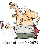 Royalty Free RF Clip Art Illustration Of A Cartoon Uncertain Businessman Pushing A Button by toonaday