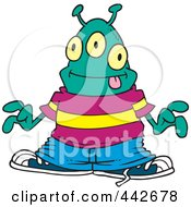Royalty Free RF Clip Art Illustration Of A Cartoon Hip Hop Alien by toonaday