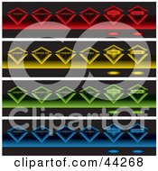Clipart Illustration Of A Collage Of Glowing Colorful Diamonds On Black